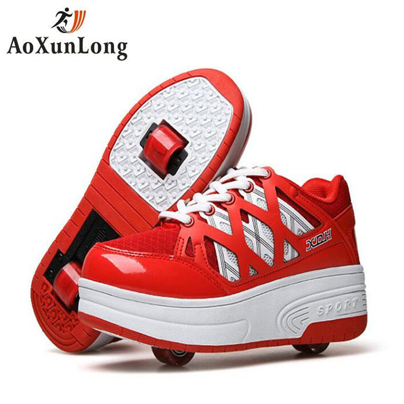 Ao Xun Long New Summer Breathable Mesh Women Parkour Shoes Student Skate Shoe Invisible Buttons Control Double Wheels Flat Shoes