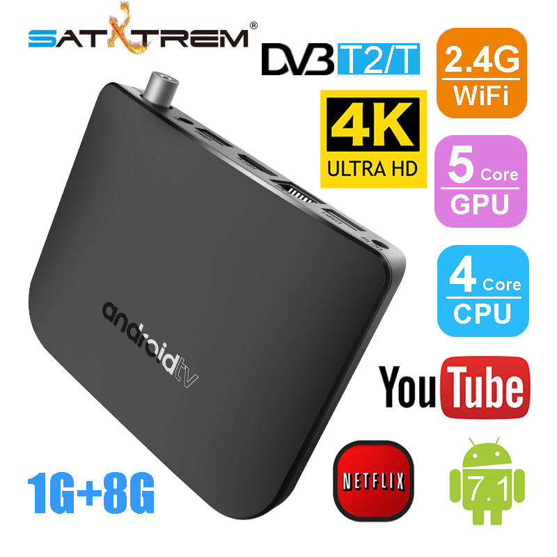 Satxtrem Mecool M8S Plus DVB T2/T 1G 8G Combo Android TV Box Amlogic S905D Quad Core Set top Box WiFi 4K HD 1080p Media Player