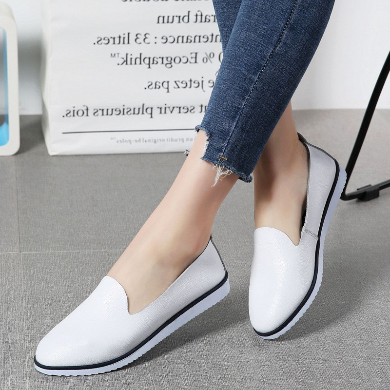 все цены на New Genuine Leather women flats shoes spring Casual Slip-on loafers comfortable soft summer Moccasins shoes woman 2018 DBT1035