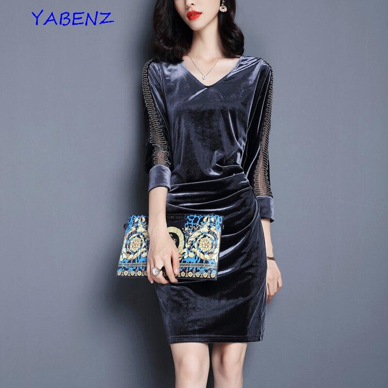 Plus Velikost S-3XL Nové 2019 Podzimní Dámské šaty Slim Šaty Evropské americké Velvet V-výstřih Tříčtvrteční tužka Šaty Dámské šaty