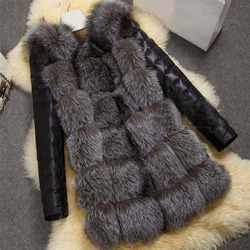 Модное зимнее женское пальто из искусственной кожи с искусственным лисьим мехом, куртка с длинным рукавом, теплая верхняя одежда, женское п...