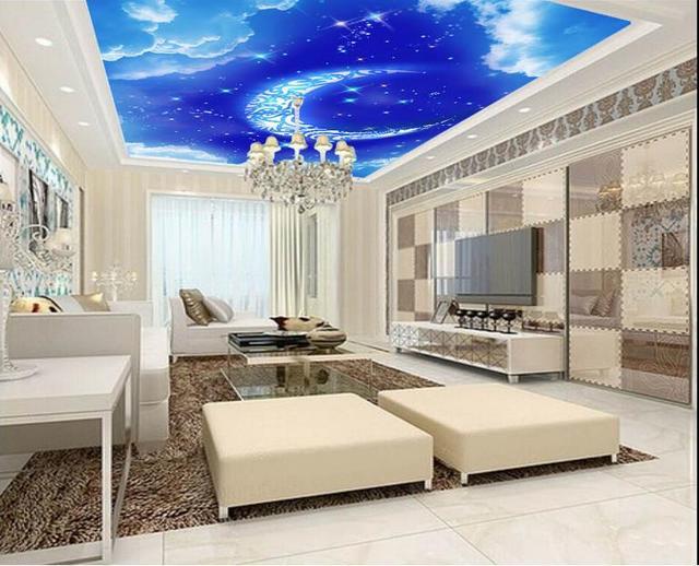 3d papier peint nature fantaisie bleu lune nuage plafond décoration de la maison non tissé papier