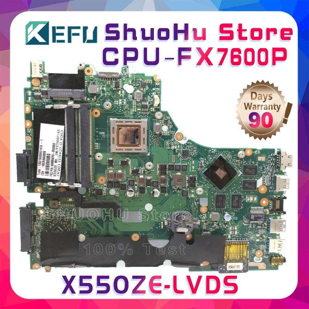 KEFU X550Z Pour ASUS X550ZE X550Z VM590Z K555Z X555Z CPU FX6700P LVDS mère d'ordinateur portable testé 100% travail carte mère d'origine