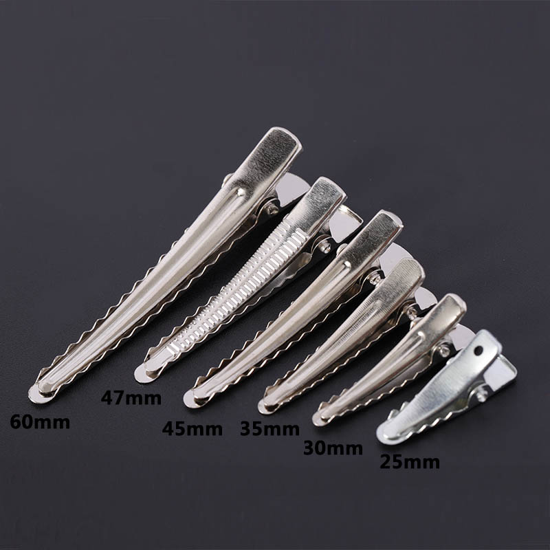50pcs 25/30/35/45/50/60mm Clips Single Prong Alligator Hairpin With Teeth Blank Setting Jewelry Making Base For DIY Hair Clips