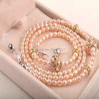 Retail High Quality Nature Real Pearl Sun glasses cord Eyewear Neck Strap Holder Accessories with gift box