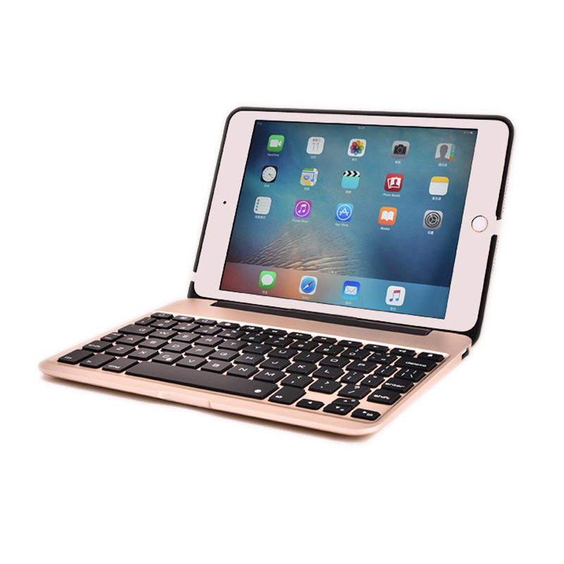 F04/For iPad Mini4 Password Free Light Slim Folding Metal 7 Color Backlit Wireless Bluetooth Keyboard Hard Shell Case Flip Stand