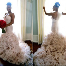 kejiadian Romantic Mermaid Wedding Dresses Chapel Train