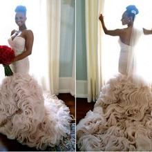 kejiadian Romantic Mermaid Wedding Dresses Chapel Train