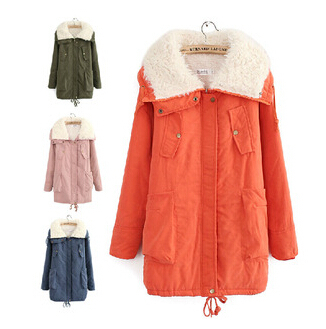 Free shipping 2015 autumn winter women's thicken velvet warme jackets women candy color plus size cotton-padded jacket