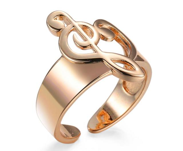 Fashion Gold Color Hollow Heart Shaped Musical Note Open Ring
