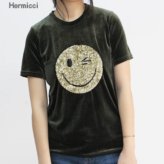 Funny Emoji Sequin Top 3D T shirt