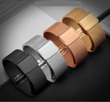 Купить с кэшбэком Milanese Stainless Steel Mens Watch Band Web Mesh Watch Strap for Men Women Watches Push Botton Hidden Bracelet 14 16 18 20 22mm