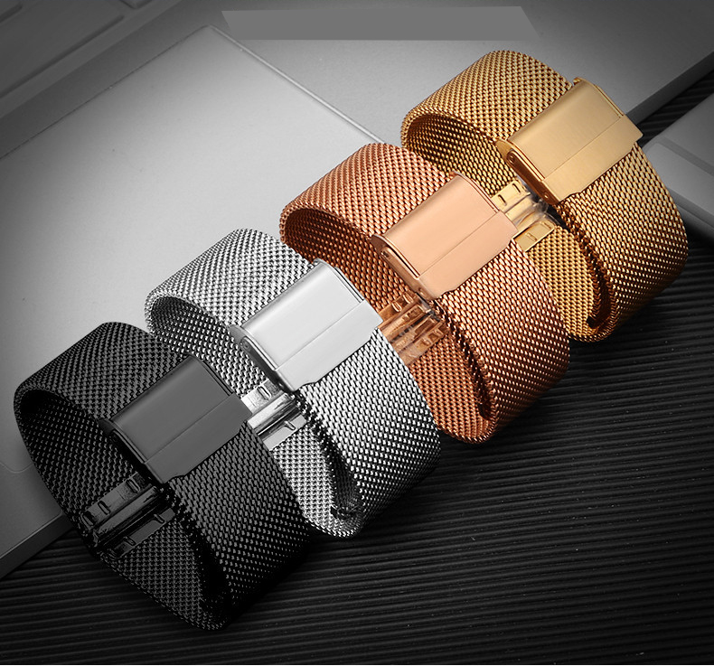 Stainless Steel Mens Watch Band Web Mesh Watch Strap for Men Women Watches Push Botton Hidden Bracelet 14 16 18 20mm zlimsn silver mesh watchbands stainless steel watch strap men women ultrathin watch band bracelet relojes hombre 14 16 18 20mm