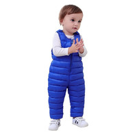 Winter Children Kids Pants Duck Down Bib Overalls Toddler Baby Boys Girls Thick Warm Trousers Clothes