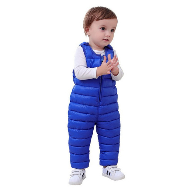 5c394f5e1d87 Winter children kids Pants Duck Down Bib Overalls Toddler baby boys ...