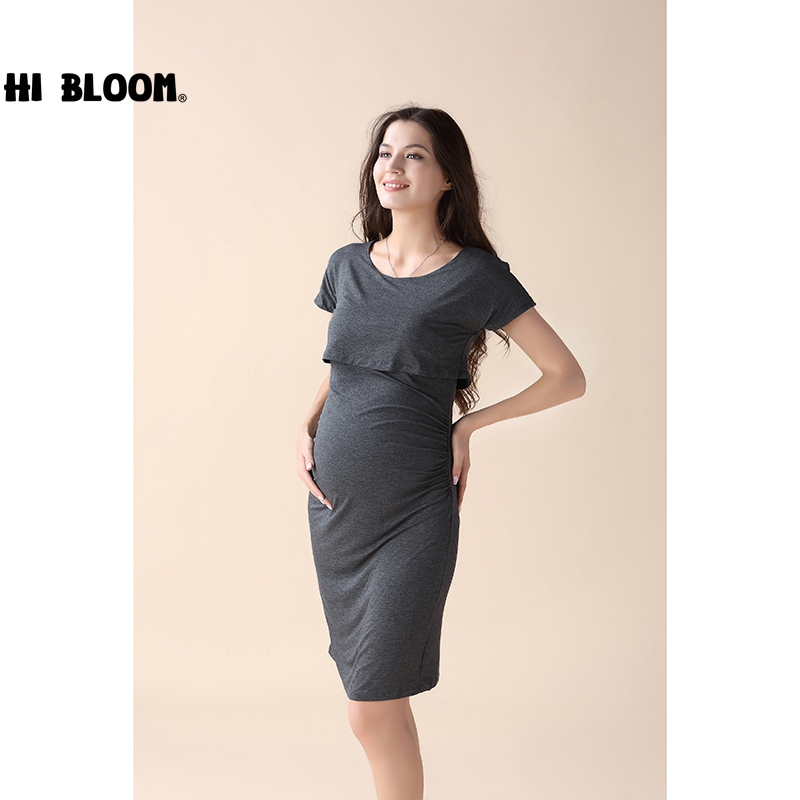 HI BLOOM Maternity Leisurely Dress Elegant Office Lady Vestidos Pregnant Women Clothes Plus Size Maternity Dress