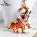 Cute elephant Pendant keychain Fashion Rhinestone Crystal Creative ladies dress handbag wallet Jewelry Llavero Chaveiro