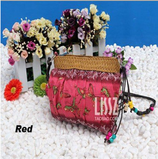 Free shipping 2013 Hot women messenger bag Bohemia women handbag candy woven bag rustic straw beach bag small bag High Quality