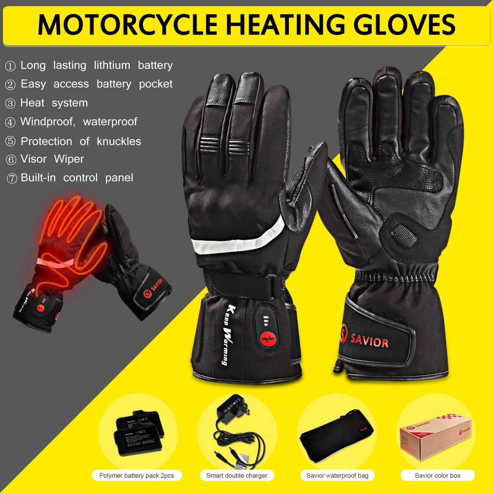 SAVIOR HEAT Motorcycle Outdoor Electric Heated Gloves Rechargeable Battery Hands Warmer fishing Waterproof Riding Racing hot savior outdoor motorbike battery heated glove fishing waterproof riding racing heating man warming 40 65 degree leather en13594