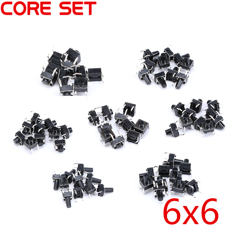 7 Values 70pcs 6X6x4.3/5/6/7/8/9/10mm Tact Switch Tactile Push Button Switch Kit Sets DIP 4P Micro Switch High Quality tny280pn dip 7