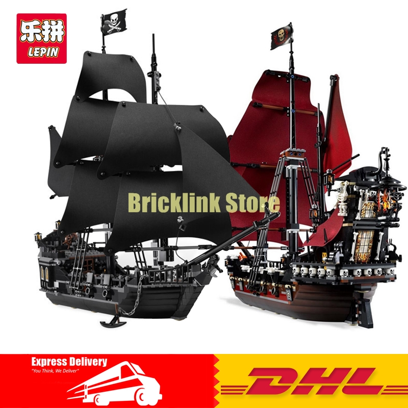 LEPIN 16006 The Black Pearl+16009 Queen Anne's revenge Pirates of the Caribbean Building Blocks Set Clone 4184 4195 lepin 16009 caribbean blackbeard queen anne s revenge mini bricks set sale pirates of the building blocks toys for kids gift