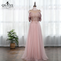QSYYE 2019 Cheap Evening Prom Dress Dusty Pink Cap Sleeves Heavy Beading Boat Neck Lace Up Back Party Gown