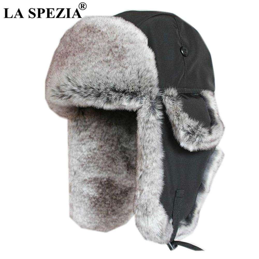 LA SPEZIA Male Black Winter Bomber Hat Men Fur Oversized Soviet Ushanka Outdoor Ski Earflap Hats For