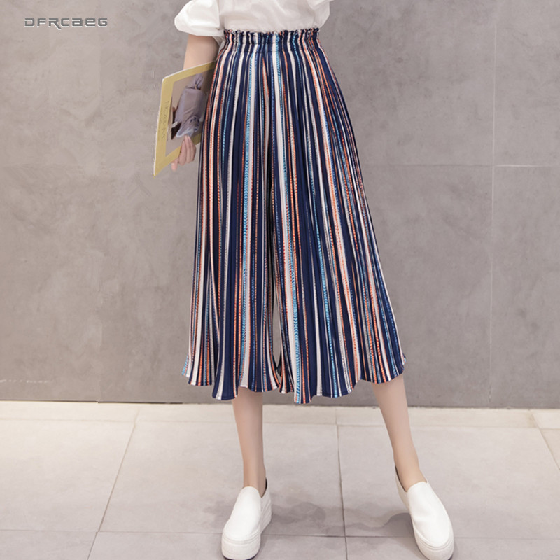 Froal Print Summer Beach   Wide     Leg     Pants   Women 2019 Fashion High Waist Chiffon   Pants   Casual Boho Ladies Pleated Trouser