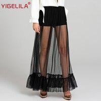 YIGELILA 2017 Latest Women Summer Fashion Sexy Black Perspective Mesh Empire Slim Long Beach Skirt 5482