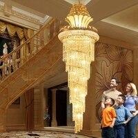 Большой золотой императорской K9 хрустальная люстра для отеля зал гостиная лестница подвесной светильник в европейском стиле большие люстр
