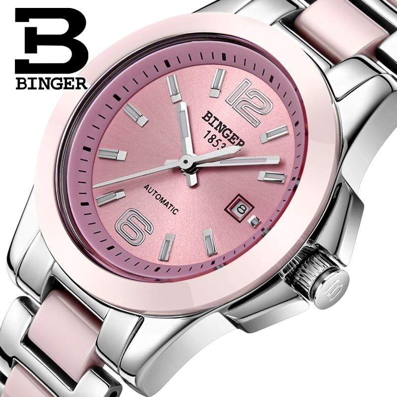 Switzerland luxury brand BINGER Mechanical Wristwatches Ceramic Women s watches lovers style Water Resistance BG 0358