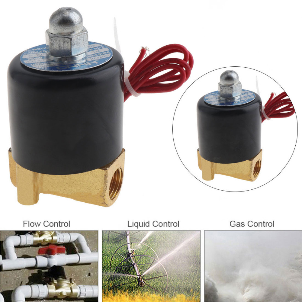 DC 12V Electric Solenoid Valve 1/4 N/C 2-Way Valves Normally Closed Mayitr For Water Air Gas 3 4 solenoid valve normally closed npsm 12v dc slim brass electric solenoid valve gas water air 2 way 2 position valves