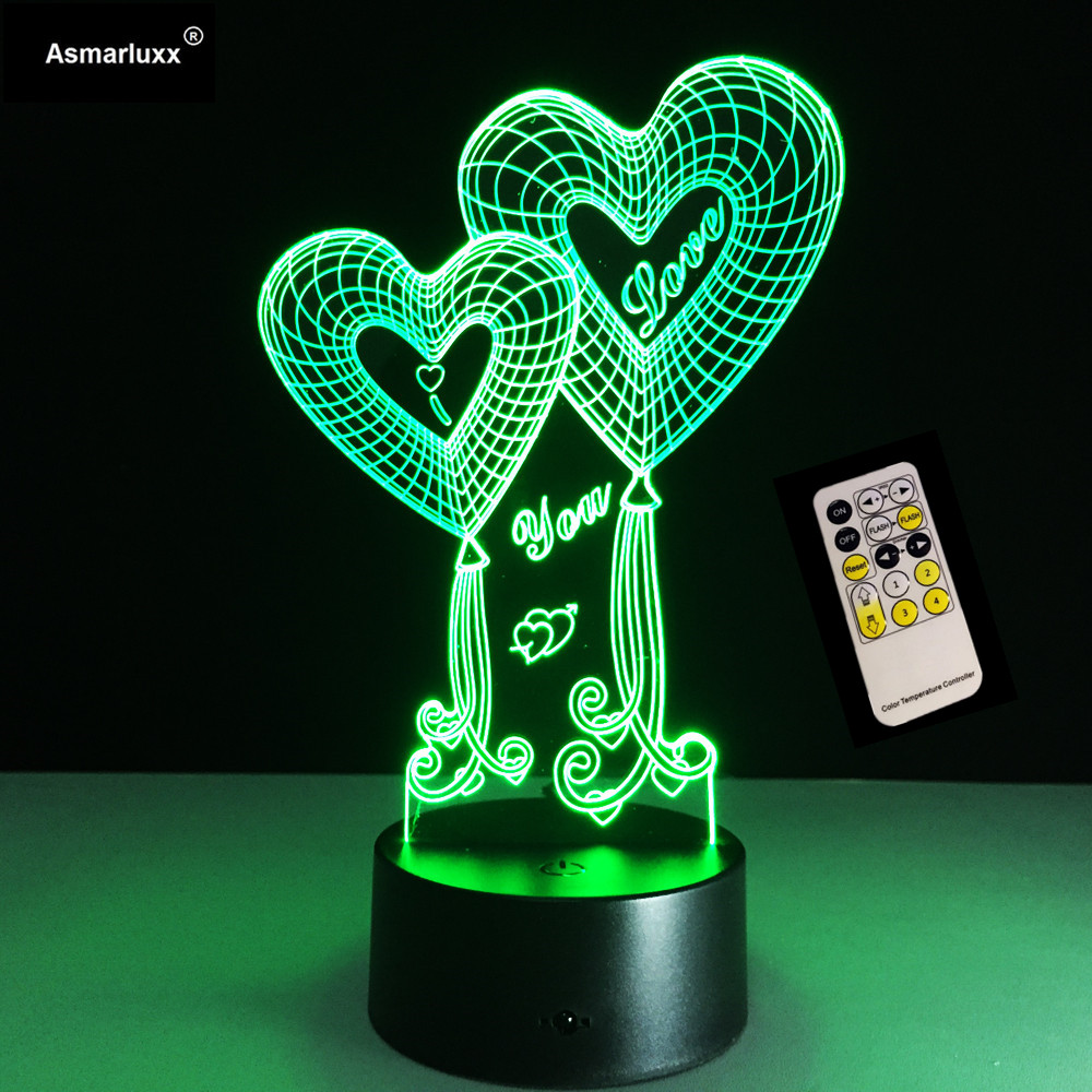 Valentines Day Gift Shop 4 Love Best Deals For Love 3D Heart LED Night Light With 3D luminous Touch Remote Control Table Lamp