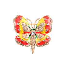 New fashion lovely red yellow green enamel butterfly inlay semi-precious stones girl corsage brooch badge  factory direct sale