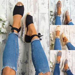 Новый Для женщин Самме Твердые Цвет плоские сандалии на плоской подошве холодная рыба рот обувь сандалии на завязках
