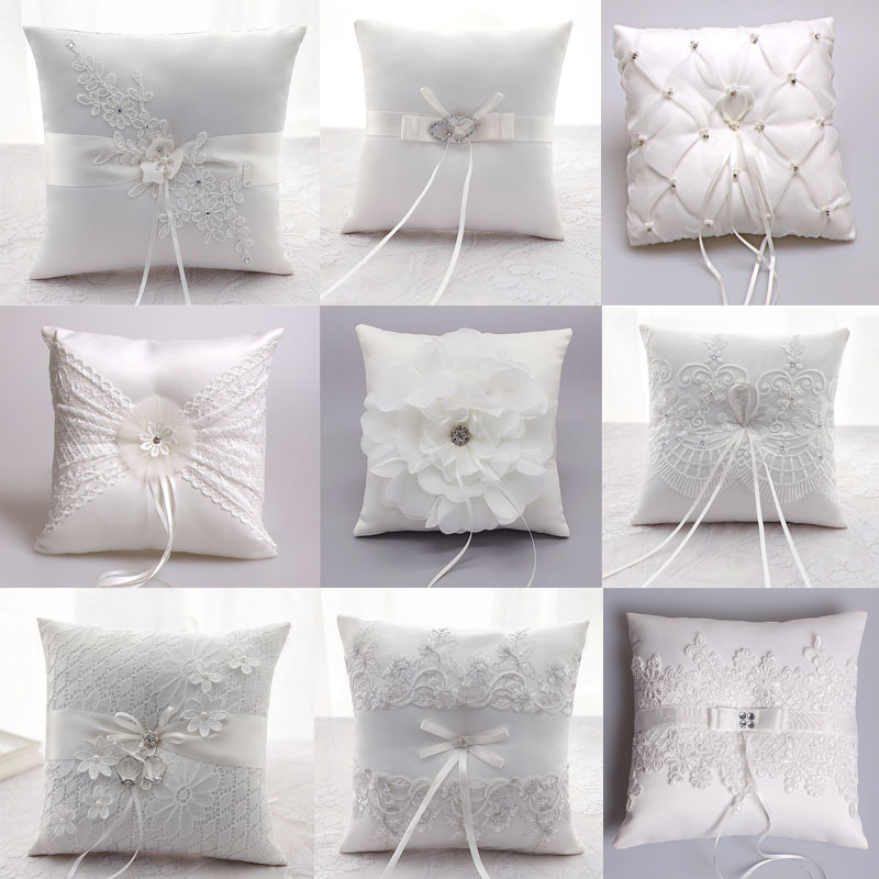 Luxury Wedding Decoration Lace Rustic Flower Ring Pillow