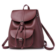 2019 new fashion women backpack vintage PU leather shoulder bag for teenage girls casual school campus bags travel backpack стоимость
