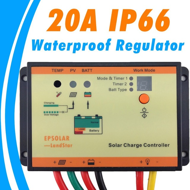 20A Solar Charge Controller IP66 12V 24V Battery Charge Regulator EPsolar LS2024RP Solar Lighting Waterproof Charge Controller