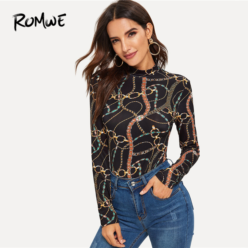 a8e9f6171 Detail Feedback Questions about ROMWE Mock Neck Chain Print Tee 2019  Fabulous Stand Collar Slim Fit T Shirt Long Sleeve Korean Spring Autumn  Women Top on ...