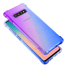Rainbow Gradient Airbag Shcockproof Case for Samsung Galaxy S10 5G Soft TPU Full Protect Cover Plus