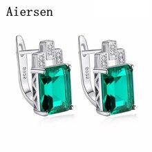 Aiersen Fashion Ladies Luxury Earring Äkta Smaragd 925 Sterling Silver Stud Örhängen för Women Statement Smycken Bröllopsgåva
