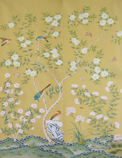 Classic Elegant Hand Painted Silk Wallpaper Customized Painting Flowers With Birds And Fence Many Patterns
