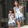 Family Matching Clothes Mother Daughter Dresses 2016 Brand Baby Girls Dress Kids Clothes Floral Dobby Women Dress Princess