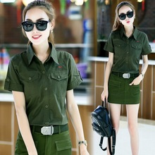 2017 Spring New Women's Casual Outdoors Cargo short sleeve shirts army green slim cotton shirts with shoulder board size