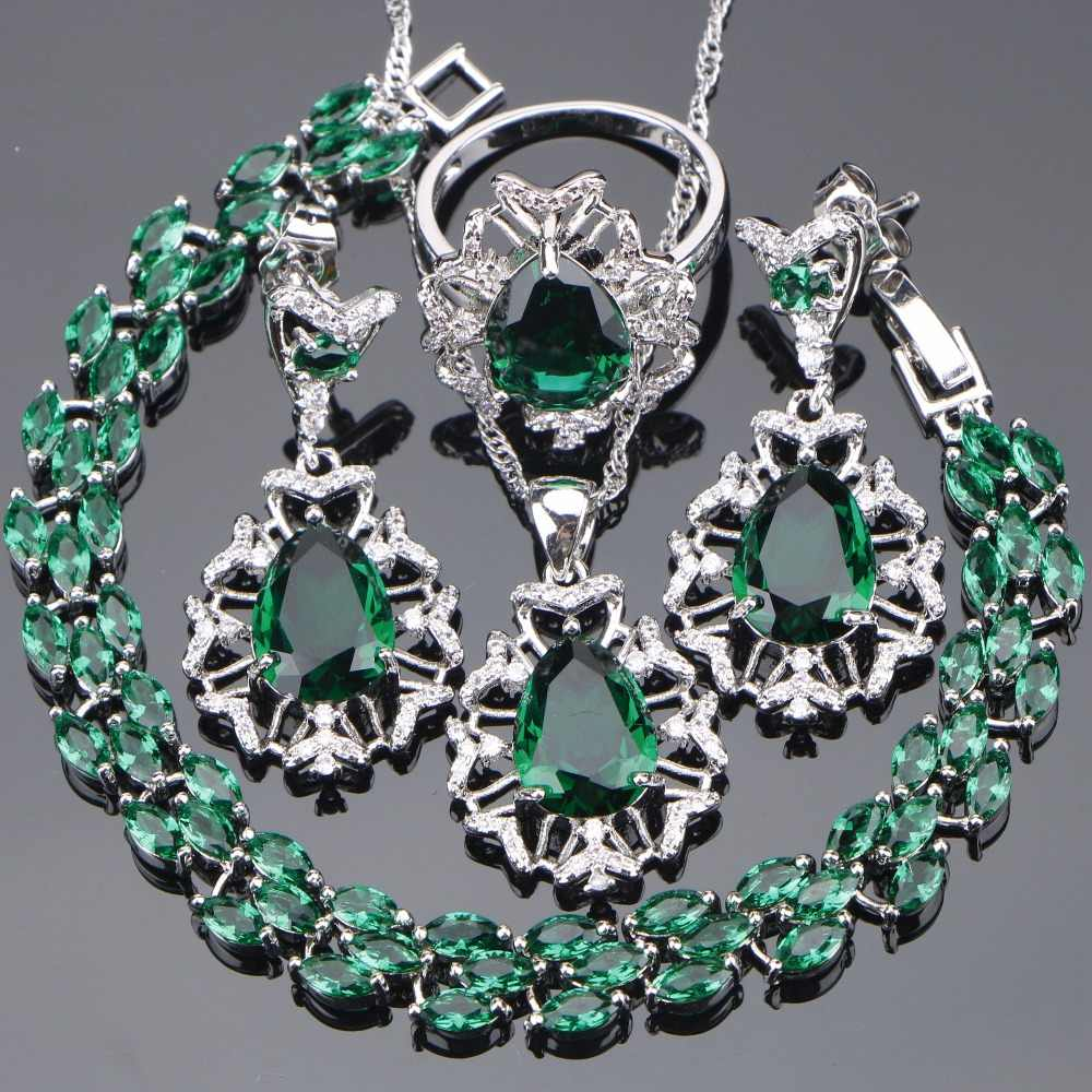 Silver 925 Costume Bridal Jewelry Sets Women Wedding Jewelry With Green Zirconia Bracelet Necklaces & Pendant Rings Earrings Set