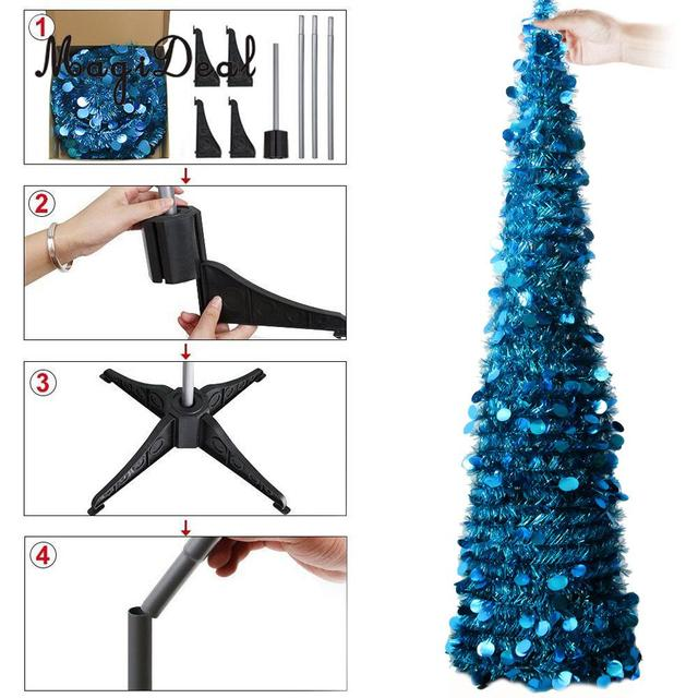Collapsible Artificial Christmas Trees: 5 Foot Pop Up Tinsel Collapsible Artificial Christmas Tree