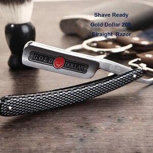 Image 3 - Золотой доллар, 208, прямая бритва, срезанное горло, для бритья, складной нож + кожаный пояс для заточки, бритва, бритва, для мужчин, для бритья, для бороды