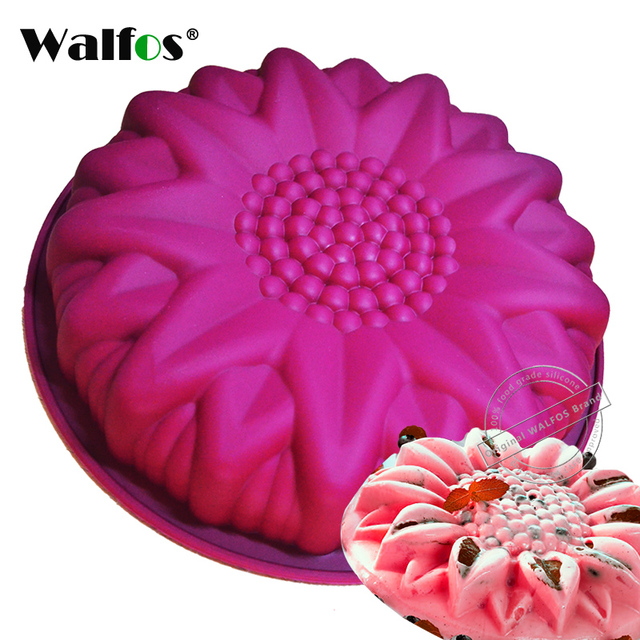 WALFOS grote siliconen cakevorm dessert mold grote zonnebloem Bloem Ring Vorm Muffin Mousse Bakvormen Cakes Pan Tray