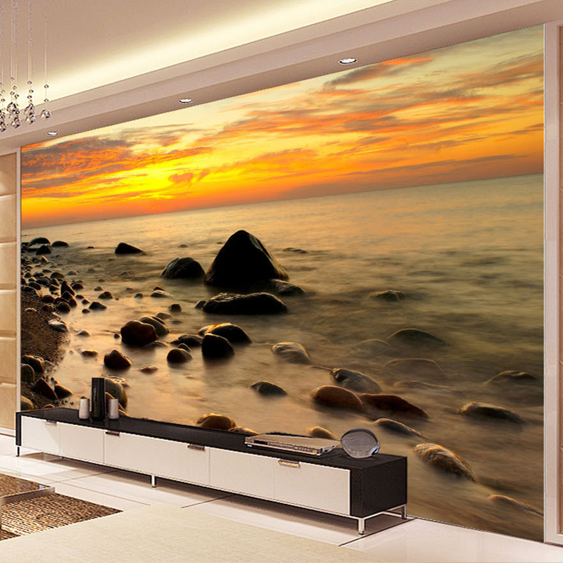 High Quality Custom Photo Wall Paper 3D Sunrise Seascape Stone Mural Living Room Background Decor Wallpaper Wall Covering Modern custom photo wallpaper high quality wallpaper personality style retro british letters large mural wall paper for living room