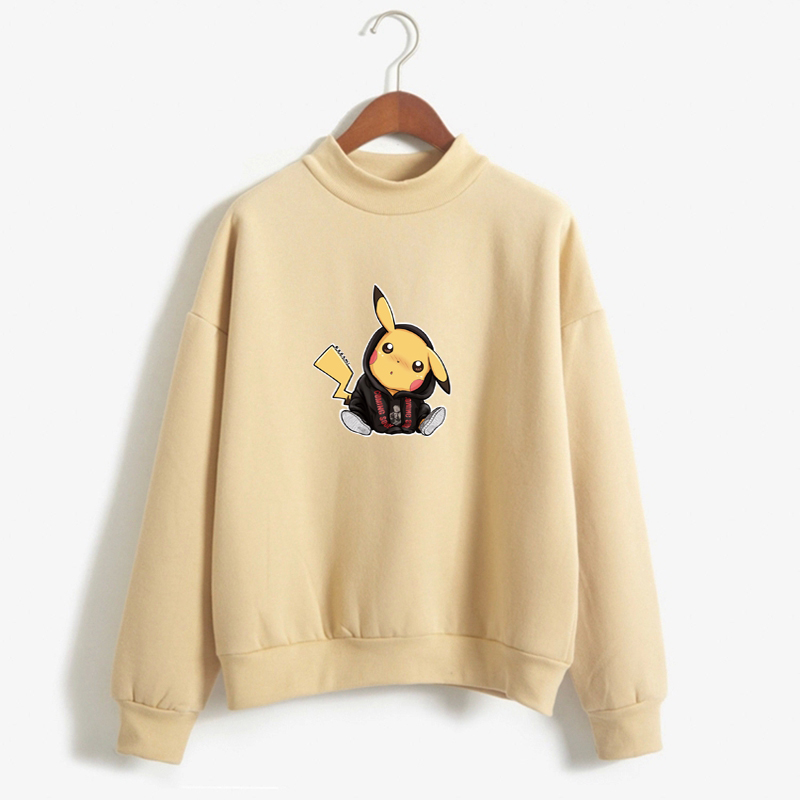 Pikachu Funny Cartoon Pokemon Fleece Hoodies Autumn New Products Women Hoodies Kawaii High Quality Girl Winter Pullover
